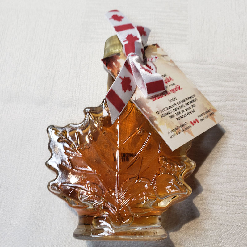 amber maple syrup 50ML glass leaf
