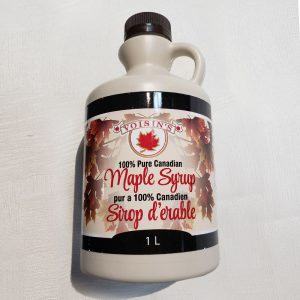 very dark maple syrup 1L plastic jug